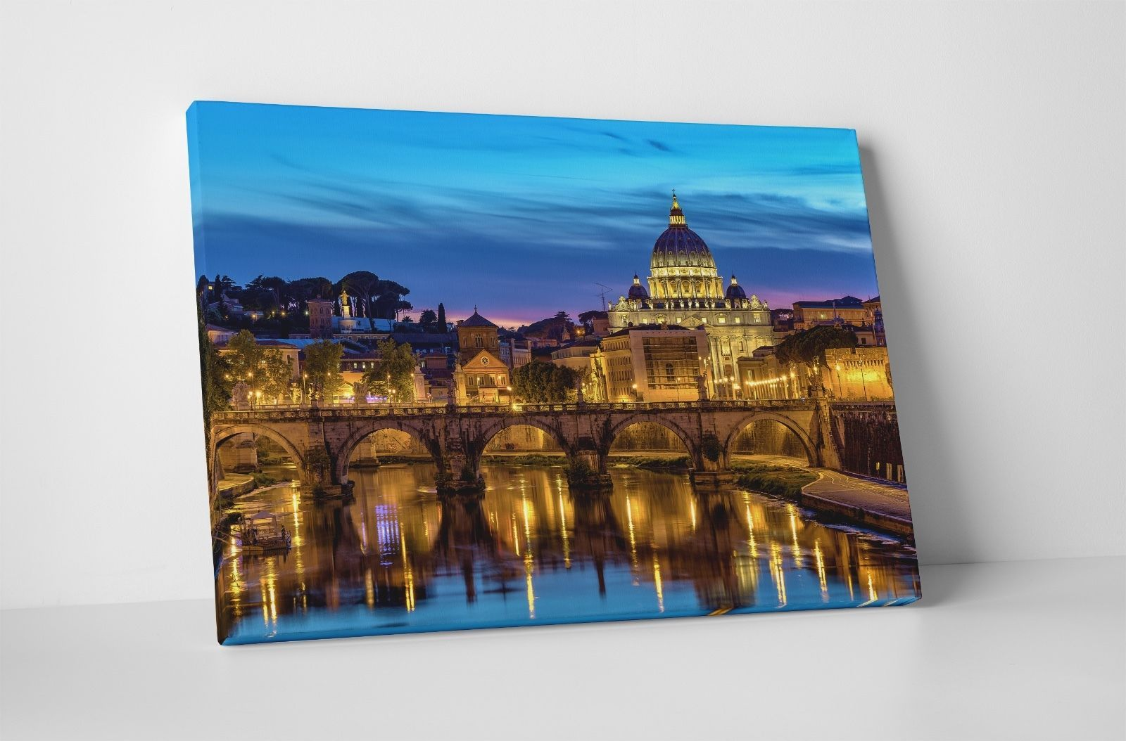 "Primary image for Rome Night Skyline II Gallery Wrapped Canvas Print. 30""x20"" or 20""x16"""