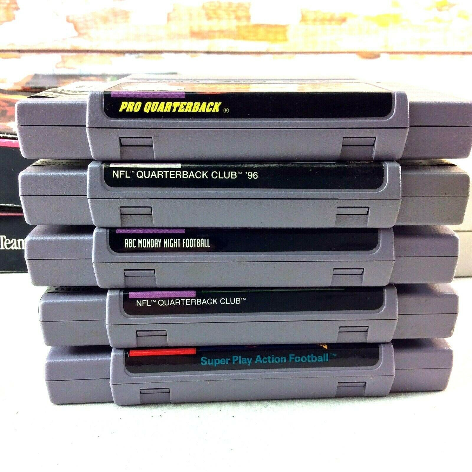 SNES Game Lot NFL Quarterback Club Monday Night Football Super Play Action Boxes image 8