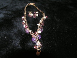 Liz Claiborne Signed DEMI Purple Plastic Fringe Drop - $12.19
