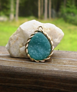 Vintage Amazonite Druzy Pendant, Pear Shaped, Aqua Teal Turquoise Gold T... - $7.00
