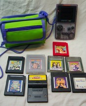 Nintendo GAME BOY COLOR Atomic Purple Handheld System W/ Games Pokemon Case - $123.75