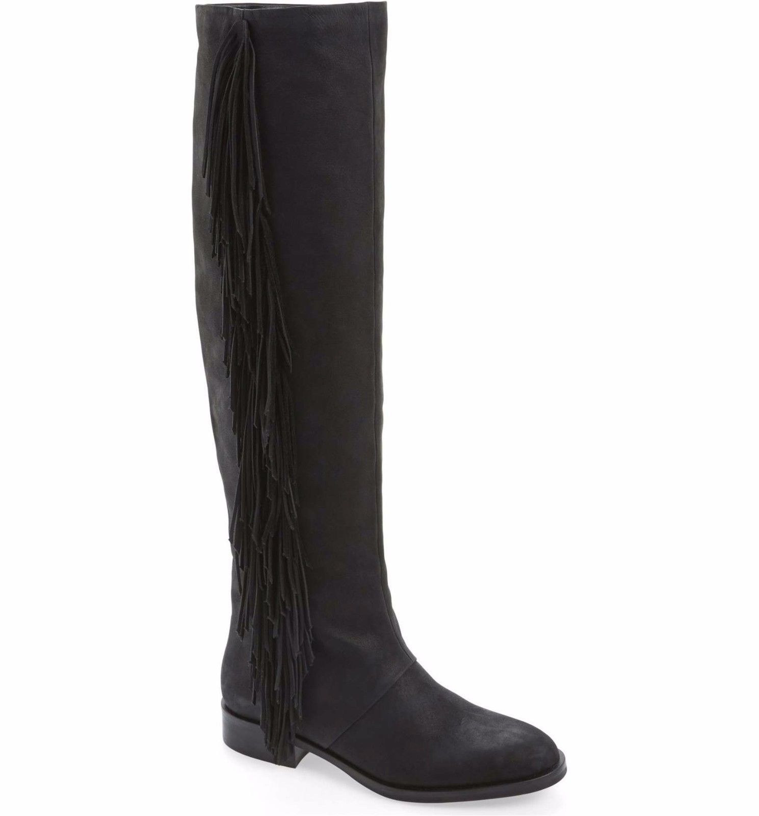 b3f7c64bfb76  275 SAM EDELMAN New Josephine Tall Fringe Leather Riding Boots Black Size  5 -  102.82