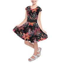 Mysterious Tropical Flowers Girls Short Sleeve Skater Dress - $39.99+