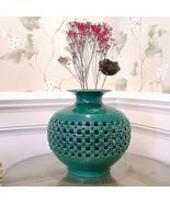 Large Handmade Embossed Ceramic Vase Zen Flower Pot Tabletop Centerpiece - $168.95