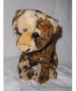 E&J Classic Cheetah or Leopard Cat Plush Stuffed Animal Brown Tan Sitting - $17.80