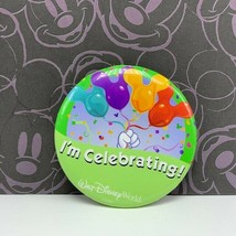 Walt Disney world Pin badge pinback Mickey Mouse I'm celebrating balloons minnie - $14.65