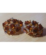 "Vintage Signed ""W""  Gold-tone Faceted Prong Topaz Color Crystal Clip-on ... - $45.00"