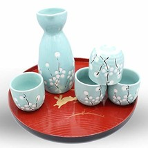 Japanese Ceramic Sake Set ~ 5 Piece Sake Set Included 1 TOKKURI bottle a... - $27.02
