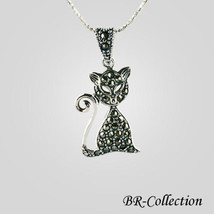 Beautiful Sterling Silver Cat Pendant with Swiss Marcasite - $24.70