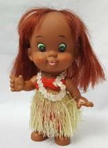 Vintage Hawaiian Hula Tiki Rubber Doll 7'' Japan Bird Logo Grass Skirt H... - $27.84