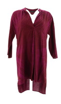 Halston Relax Woven Spirograph Print V-Neck 3/4 Slv Tunic Orchid 4 NEW A... - $37.60