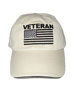 Military Veteran Baseball Cap with U.S. Flag. Khaki - $15.95