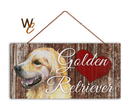 Golden Retriever Sign, I Love My Goldie Dog, 5x10 Rustic Style Sign - $11.39