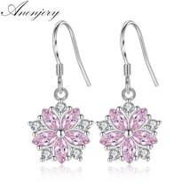 925 Sterling Silver Pink Crystal Micro Zircon Cherry Blossom Flower Drop... - $8.60
