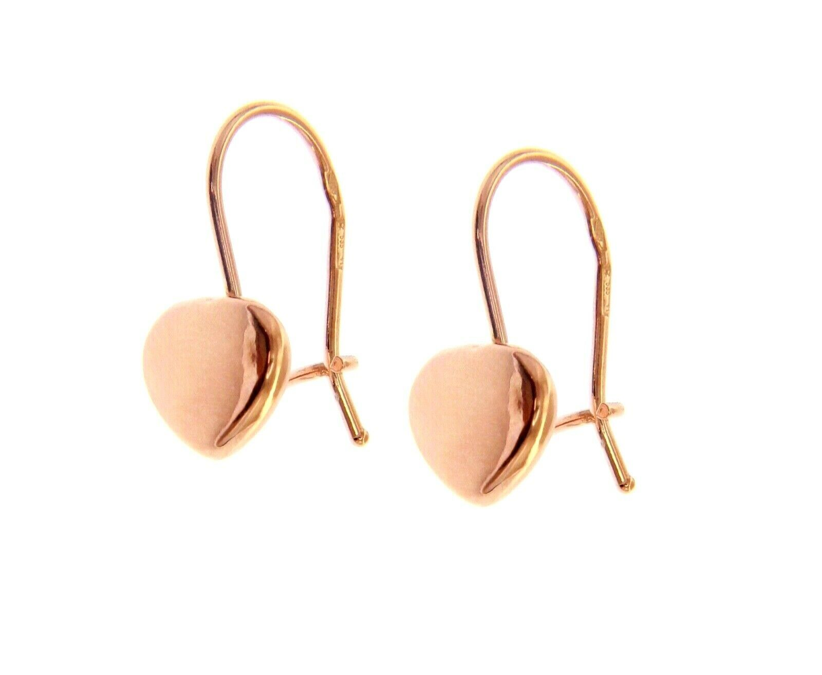 18K ROSE GOLD PENDANT HOOK ROUNDED 8mm HEARTS EARRINGS LENGTH 20mm 0.8""
