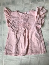 Carter's Blush Pink Ruffle Sleeve Cotton Blouse Size 6X Lace Inset - $12.19