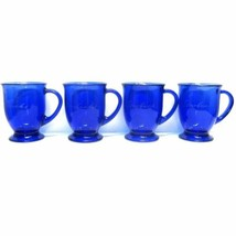 STARBUCKS COFFEE CO LOT (4) 16 oz COBALT BLUE PEDESTAL FOOT ETCHED MUGS USA - $74.69