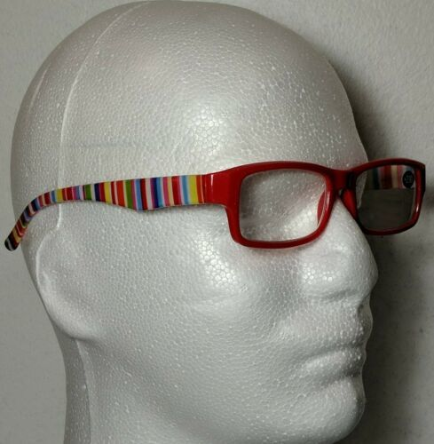 Primary image for Fruit Stripes Fashion Reading Glasses Red Candy Stripe Unisex +2.00 Stylish NEW