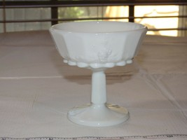Milk Glass Unbranded Champagne Sherbert cup Grape Pattern Vintage - $16.02