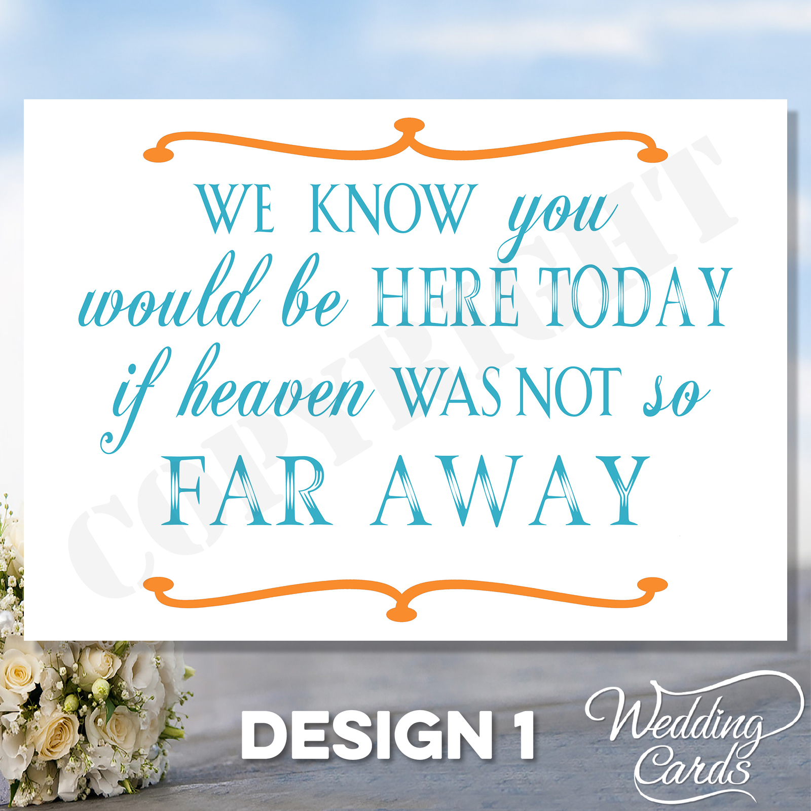 Memory Wedding Sign Card - Remembering Loved Ones - Display at wedding Any color