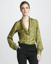 Rachel Zoe Eleanor Shawl-Collar Top Blouse Scale print green S NWT $395 ... - $99.00