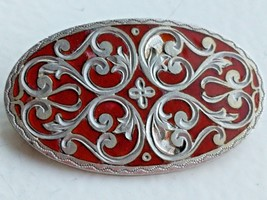 VINTAGE STERLING 900 SILVER RED ENAMEL CROSS PIN RS - $31.18