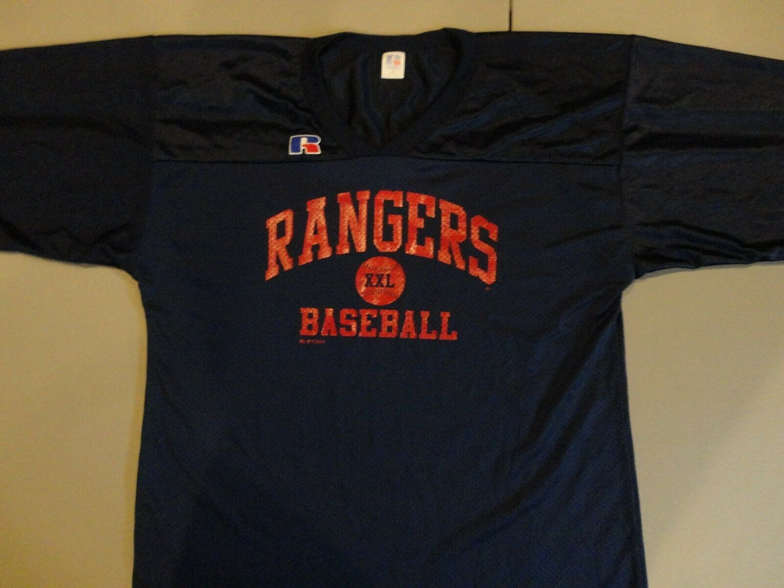 Primary image for Blue Texas Rangers Vtg 2004 Russell Athletics MLB baseball Screen Jersey Mens XL