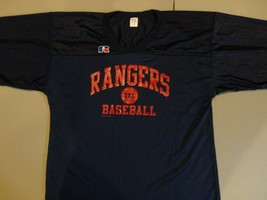 Blue Texas Rangers Vtg 2004 Russell Athletics MLB baseball Screen Jersey Mens XL - $27.67