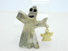 Vintage Halloween Silver Ghost Baby Ghost Enamel Darlene Group Pin Brooch - $13.86