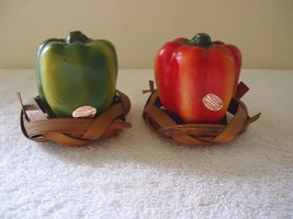 "Vintage Enesco Set Of Bell Pepper Salt & Pepper Shakers "" BEAUTIFUL RARE... - $18.69"