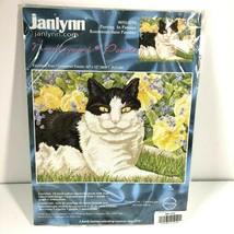 Janlynn Purring in Pansies Needlepoint 053-0315 2004 16 x 12 Linda Elliott  - $44.54