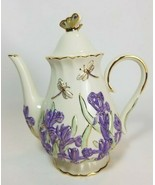 Lenox Springtime Splendor Iris China Teapot Dragonfly Parvaneh Holloway - $47.47