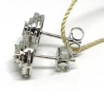 White Gold Earrings 750 18k, 0.31 Carat Diamonds, Button, Oval, sett image 2