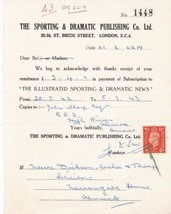 The Sporting & Dramatic Publishing Co. Ltd London 1942 Stamp Receipt Ref... - $7.55