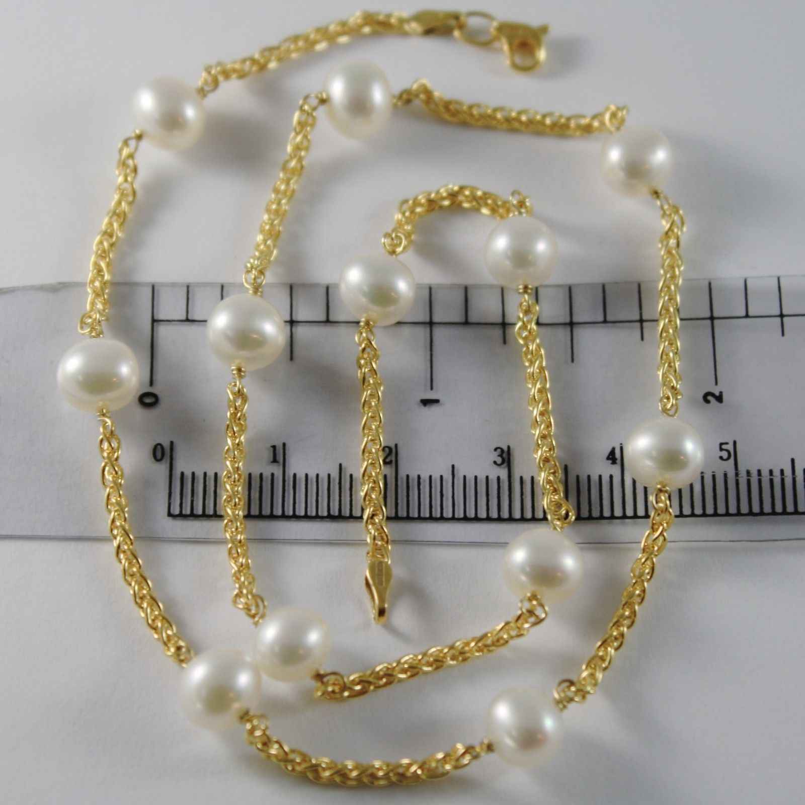 9K YELLOW GOLD NECKLACE WITH WHITE PEARLS 7 MM, 44 CM, 17.3 INCHES MADE IN ITALY