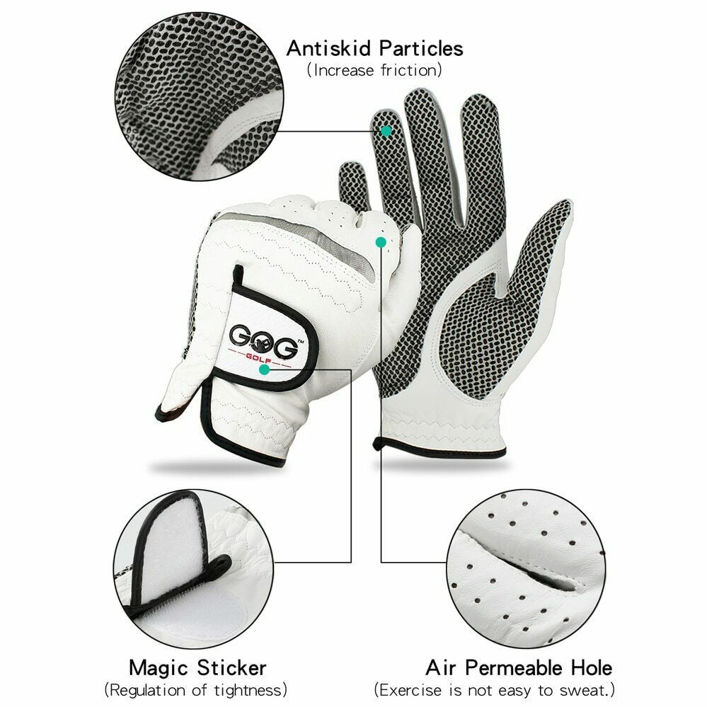 Free Shipping Genuine Leather Golf Gloves Men's Left Right Hand Soft Breathable image 3