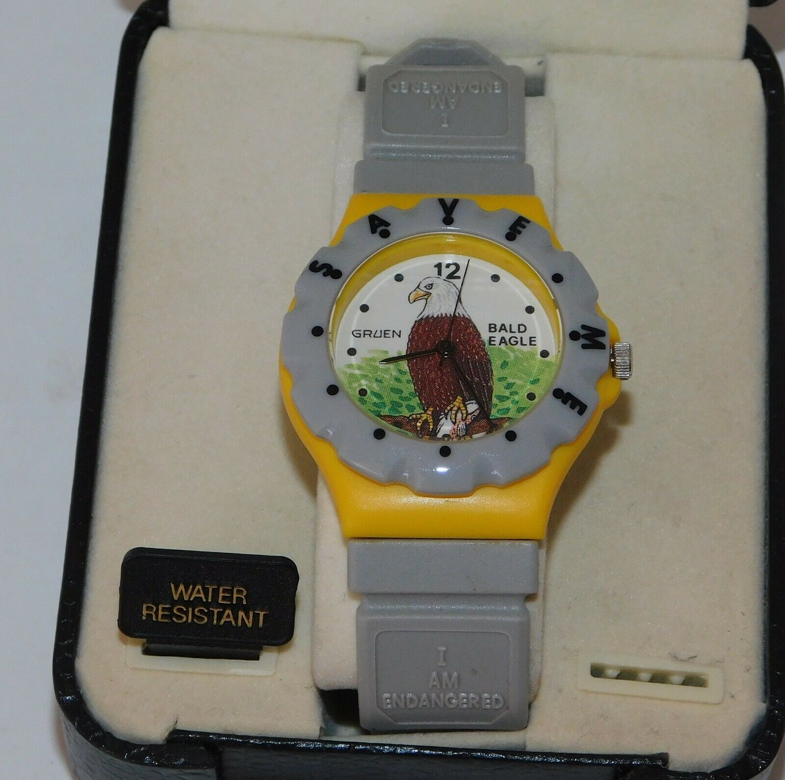 Primary image for Rare Vintage GRUEN Bald Eagle 'Endangered Save Me' Wrist Watch New in Case