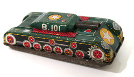 Vintage Ichimura B101 Army Tank Tinplate Metal Military Friction Toy Jap... - $18.91