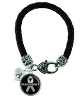 Custom Parkinson's Disease Awareness Ribbon Black Leather Bracelet Jewelry - $14.99