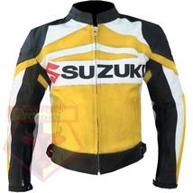 SUZUKI GSX-R YELLOW MOTORBIKE ARMOURED COWHIDE LEATHER MOTORCYCLE BIKER ... - $194.99