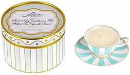 Scented Soy Candle in a Teal Striped Tea Cup with Saucer, Tea Cup, Candl... - $48.49