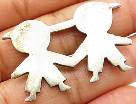 MEXICO 925 Sterling Silver - Vintage Children Holding Hands Brooch Pin -... - $30.75
