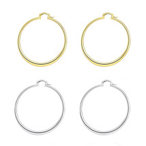 Women's Fashion Gold Tone Stainless Steel Big Round Circle Dangle Hoop E... - $9.99