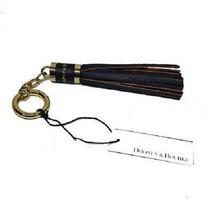 Dooney & Bourke Key Fob Keychain Clip Black Pebble Leather Tassel Gold H... - $56.42