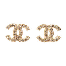 100% Authentic Chanel CC Logo Crystal Classic Gold Stud Earrings NEW