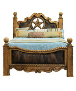 Cowhide Bed with Star King Queen Western Rustic Cabin Lodge Real Solid Wood - $2,524.50+