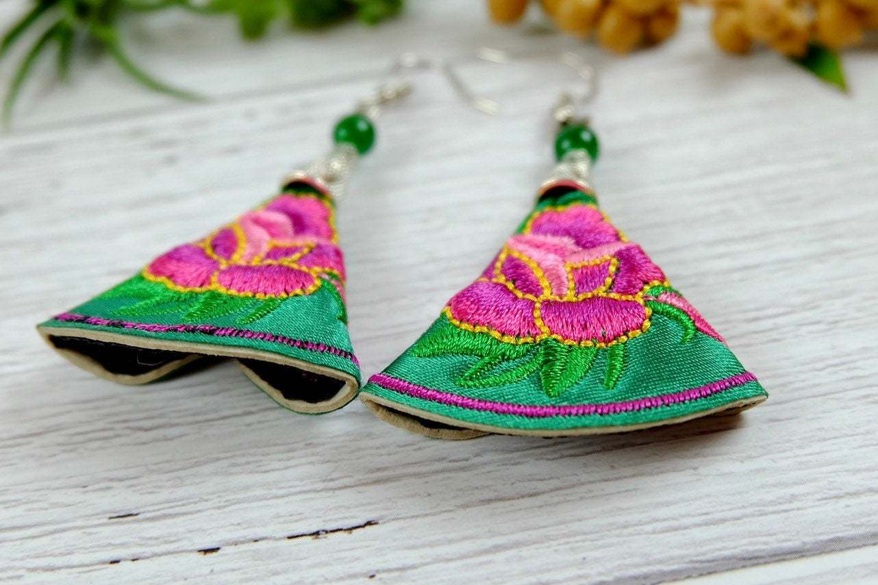Floral Embroidery Dangle Earrings, Colorful Fabric Handmade Jewelry image 3