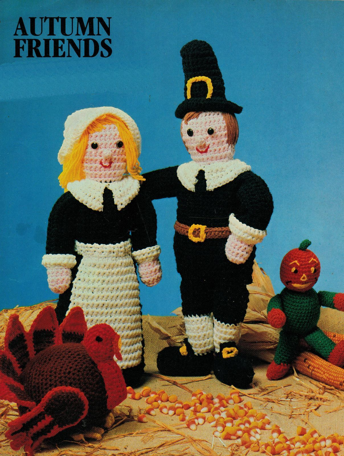 "Primary image for Crochet 22"" Mr Mrs Pilgrim Thanksgiving Turkey Knit Halloween Scarecrow PATTERN"
