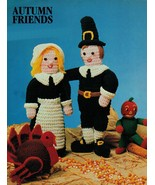 "Crochet 22"" Mr Mrs Pilgrim Thanksgiving Turkey Knit Halloween Scarecrow ... - $8.99"