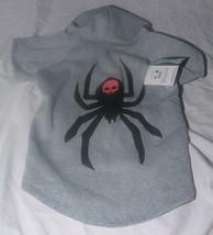 "New Dog Costume Sz L Spider Black Widow Skull Hoodie Fleece 18 to 21"" Gray - $16.19"